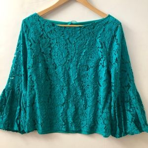 Laundry Shelli Segal Lace overlay Top L